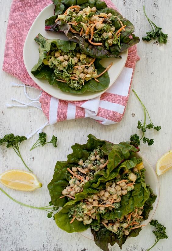 Curried Chickpea Salad Swiss Chard Wrap