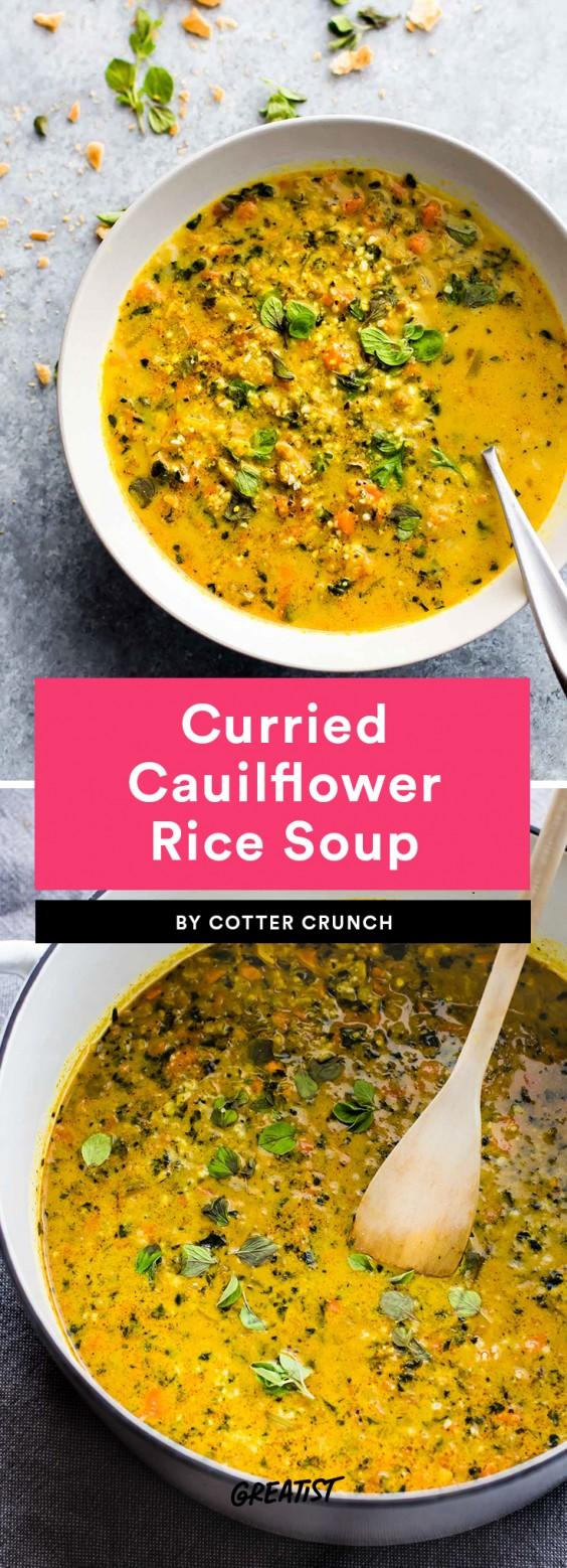 Curried Cauliflower Rice Soup
