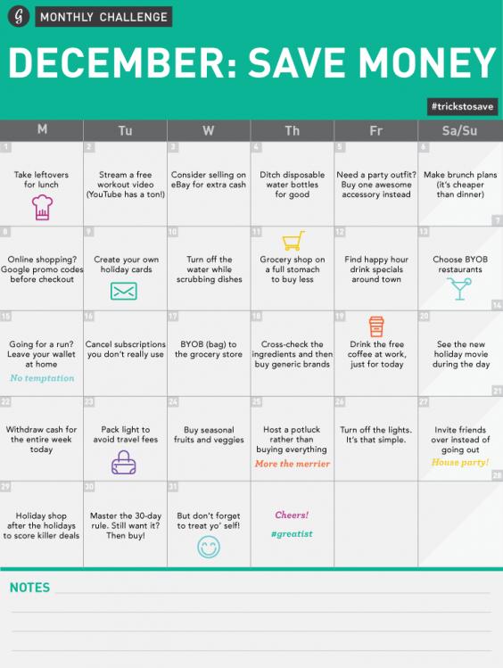 December Save Money Monthly Challenge Calendar