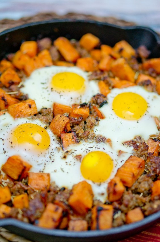 2. Sweet Potato Hash With Sausage and Eggs