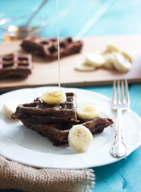 Dark Chocolate Banana Waffles