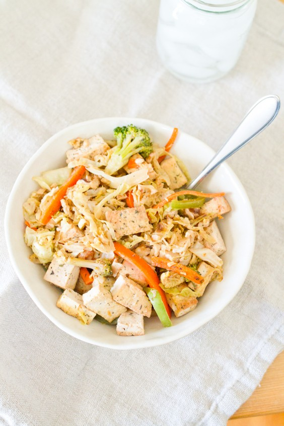Tofu Veggie Bowl with Cabbage Noodles