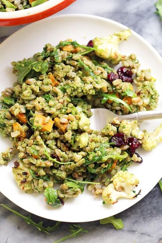 Healthy Grain Bowls: Farro Bowl With Roasted Vegetables and Kale Pesto Vinaigrette