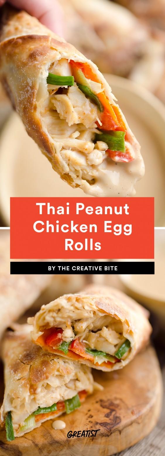 Thai Peanut Chicken Egg Rolls