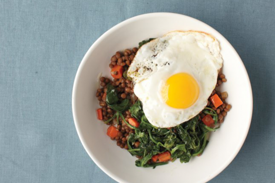 Lentils with Egg and Greens