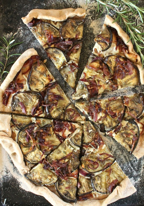 Dairy-Free Eggplant and Caramelized Onion Pizza