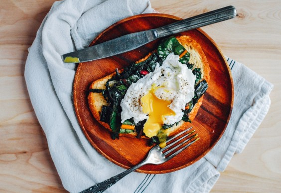Poached Eggs and Rainbow Chard on Toast