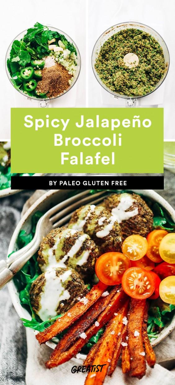 Spicy Jalapeño Broccoli Falafel