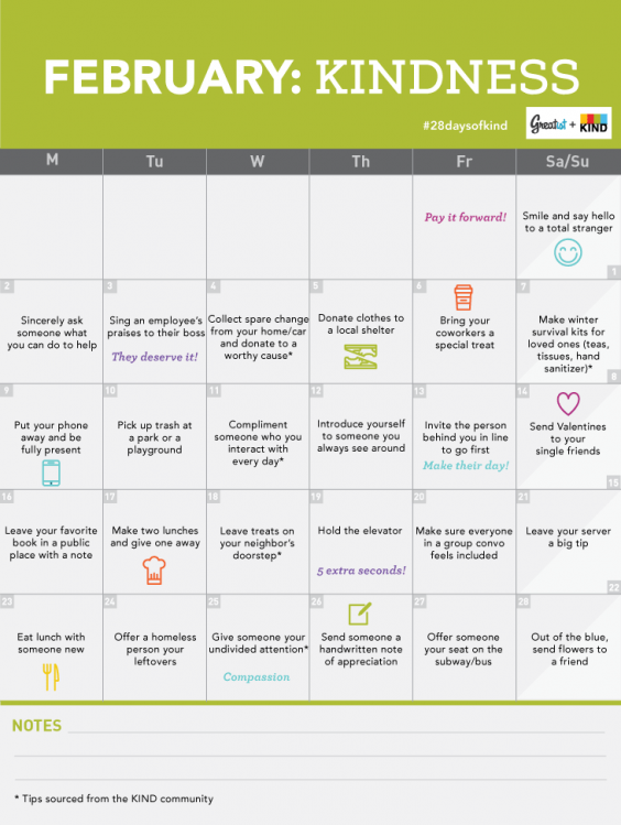 February Monthly Kindness Challenge Calendar