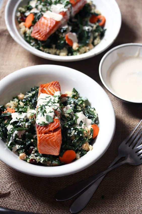 Healthy Grain Bowls: Salmon and Quinoa Bowls With Kale and Tahini
