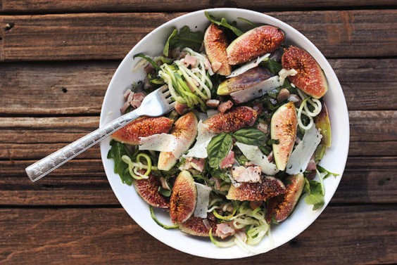 Zucchini Noodles with Figs, Arugula, and Pancetta
