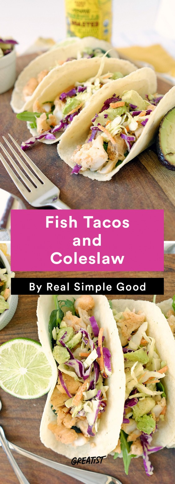 Real Simple Good Dinner: Fish Tacos and Coleslaw
