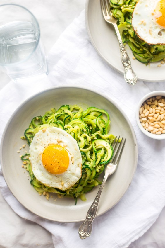 Whole30 dinner recipes 21 easy and delicious meals greatist whole30 dinner recipes zucchini noodles with everything pesto and fried eggs forumfinder Gallery