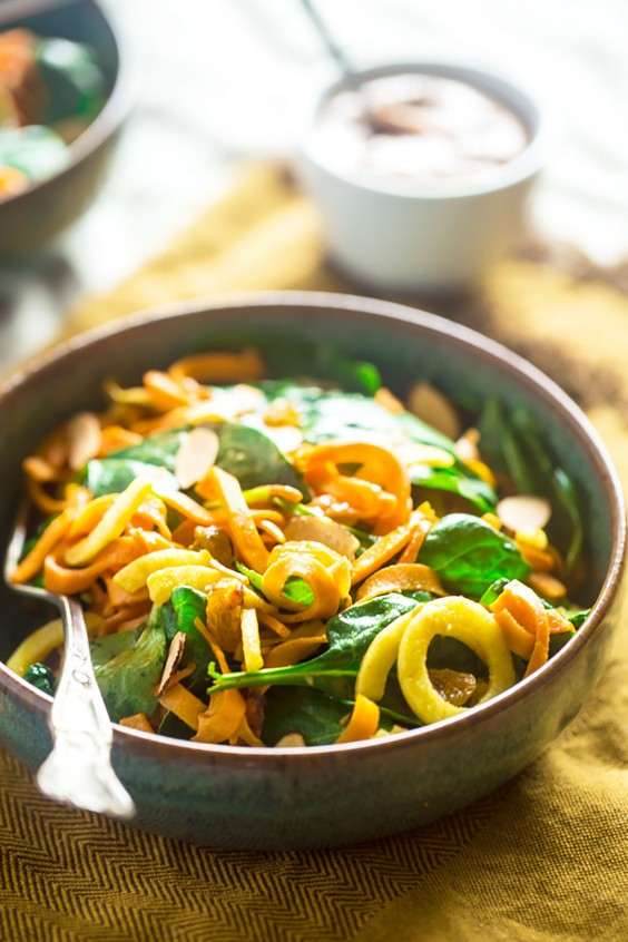 Whole30 dinner recipes 21 easy and delicious meals greatist 16 sweet potato noodles and apple spinach salad with almond dijon vinaigrette forumfinder Choice Image