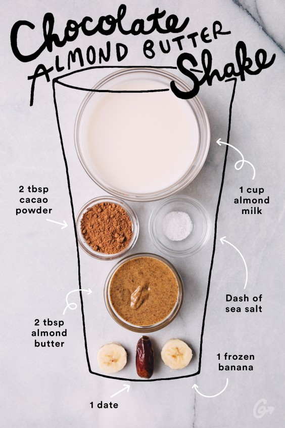 Dark Chocolate Almond Milk Banana Smoothie