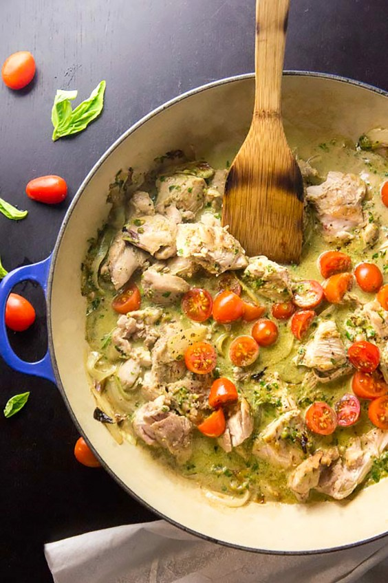 Paleo Dinners: Creamy Basil and Tomato Chicken