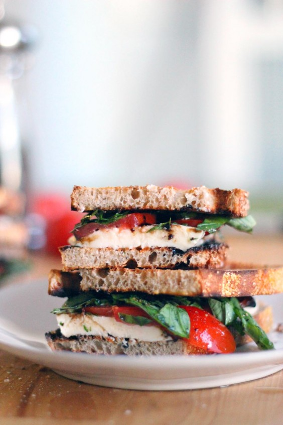 Tomato, Basil, and Mozzarella Sandwich Recipe