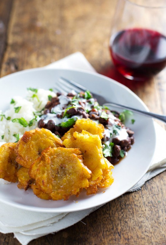 Puerto Rican Fried Plantains With Rice and Beans