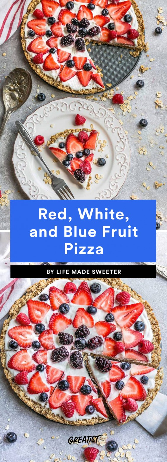 Red, White, and Blue Fruit Pizza
