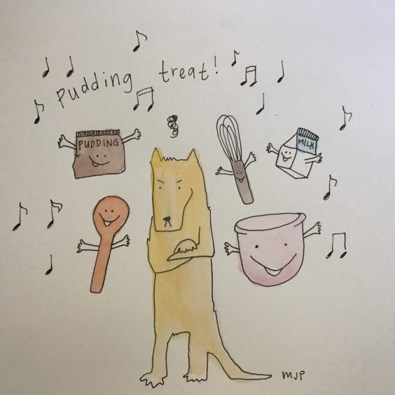 "An illustration by the author, Mikayla, of her serenading her dog, Toast, with a rendition of ""Pudding Treat.\"""