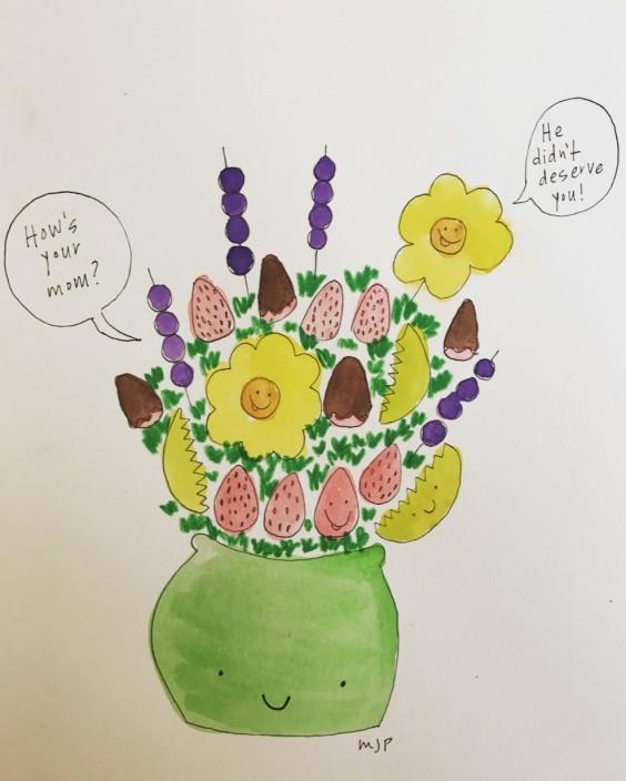 An edible arrangement full of friends, being super supportive