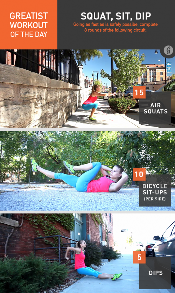 Greatist Workout of the Day: Squat, Sit, Dip