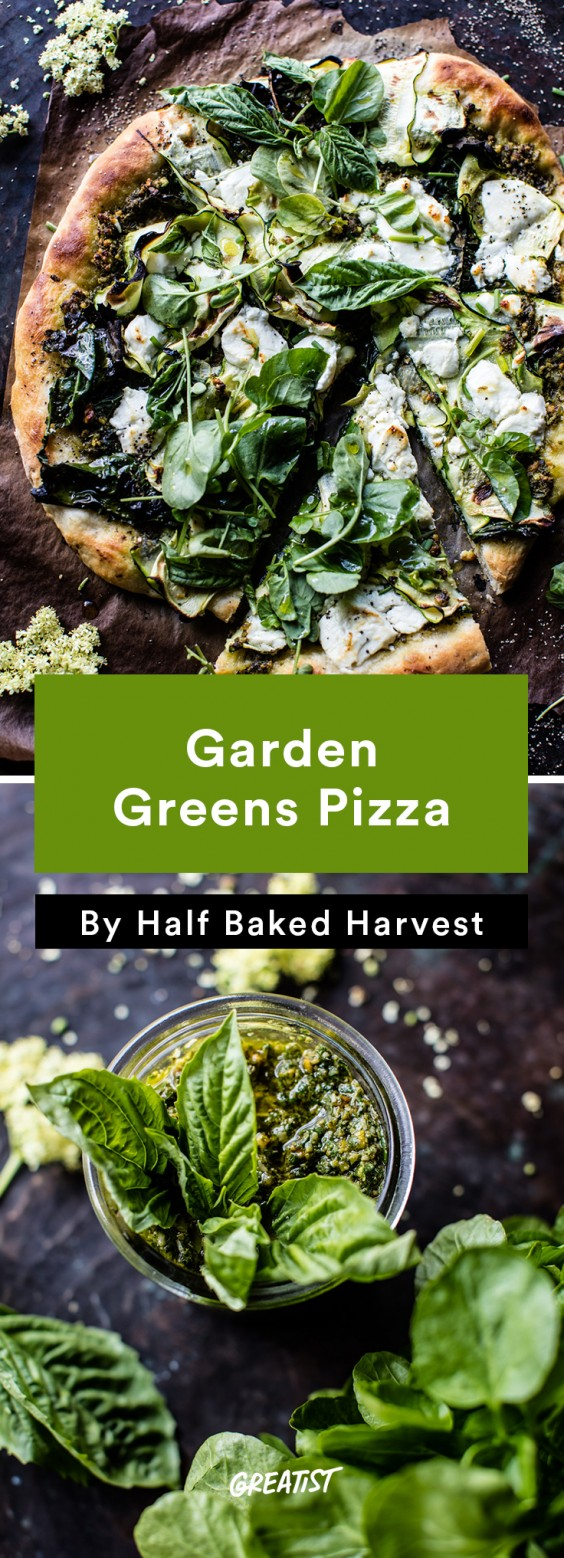 one tray veg din: Garden Greens Pizza