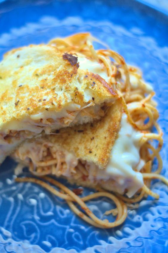 9. Garlic Bread Spaghetti Grilled Cheese