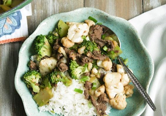 Garlic, Beef, Broccoli, Cauliflower Stir Fry