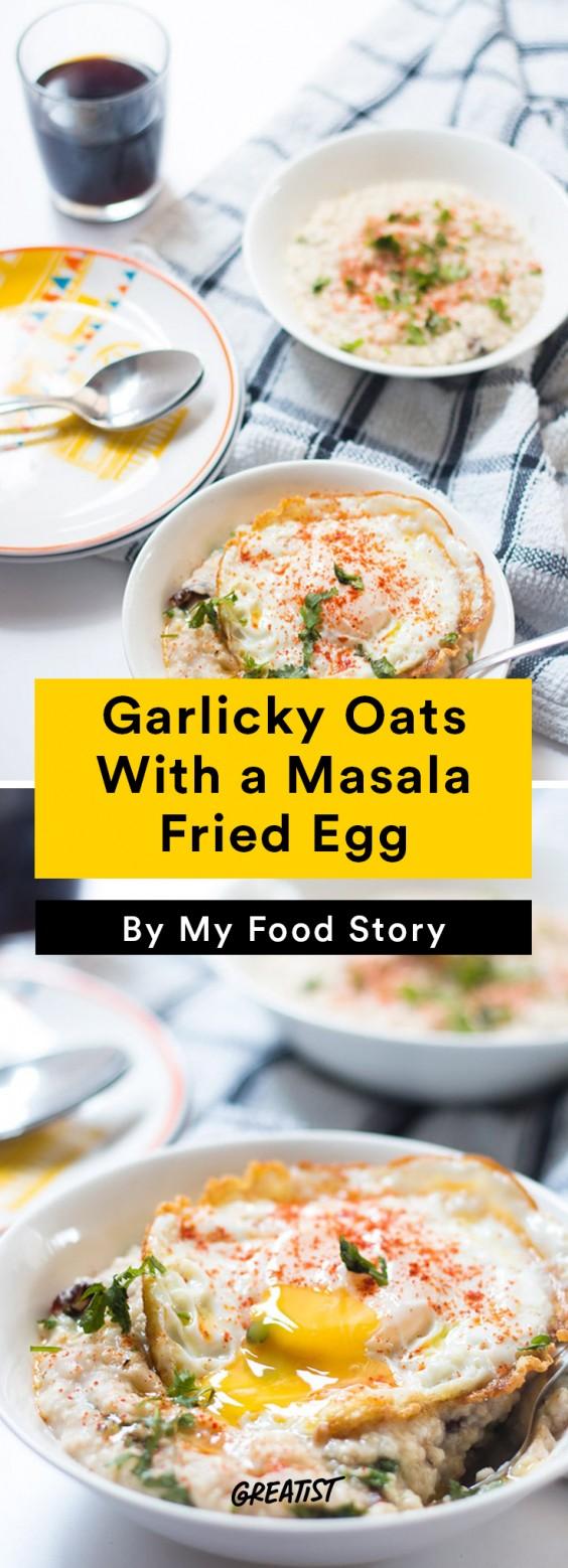 savory oatmeal: Garlicky Oats With a Masala Fried Egg