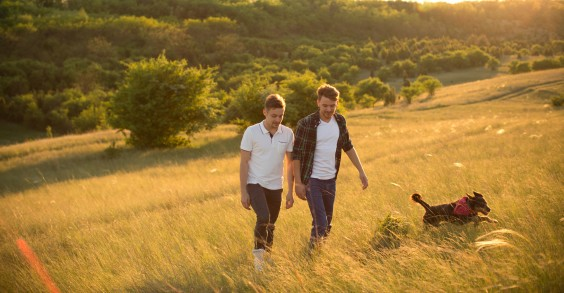 Gay Couple Walking Dog