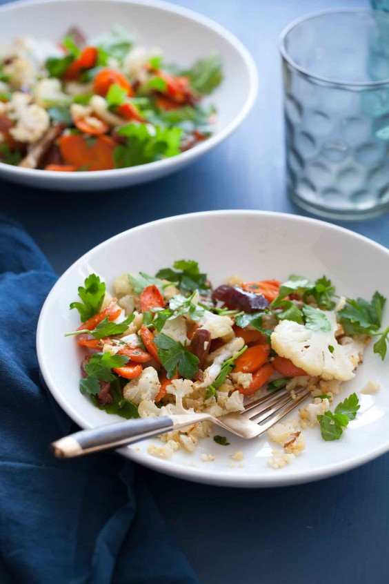 16. Warm Cauliflower Carrot Salad With Citrus Miso Dressing