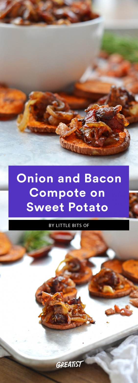 Bacon and caramelized onion jam on top of a thinly sliced, baked sweet potato round. This is a Whole30 compliant dish.