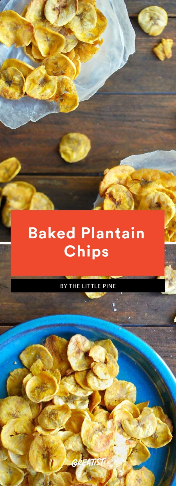 Baked, thinly sliced plantains in a cone of waxed paper. This is a Whole30 compliant dish.