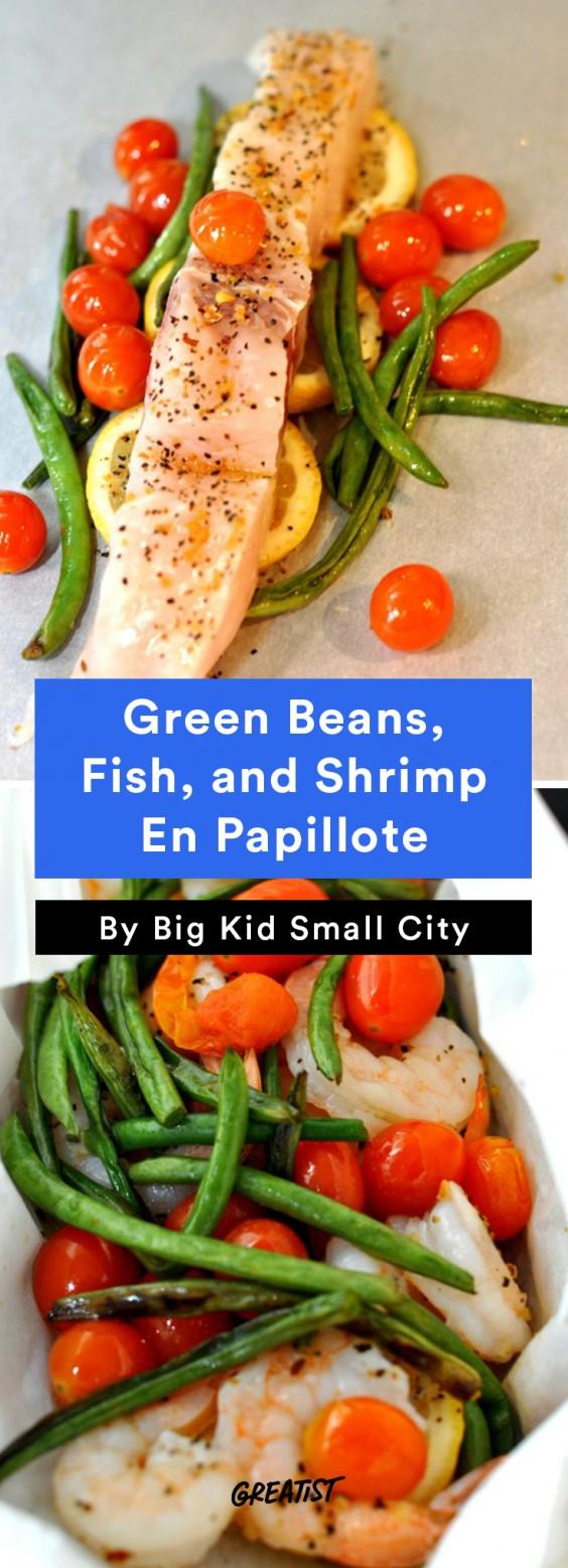 Green Beans, Fish, and Shrimp En Papillote Recipe