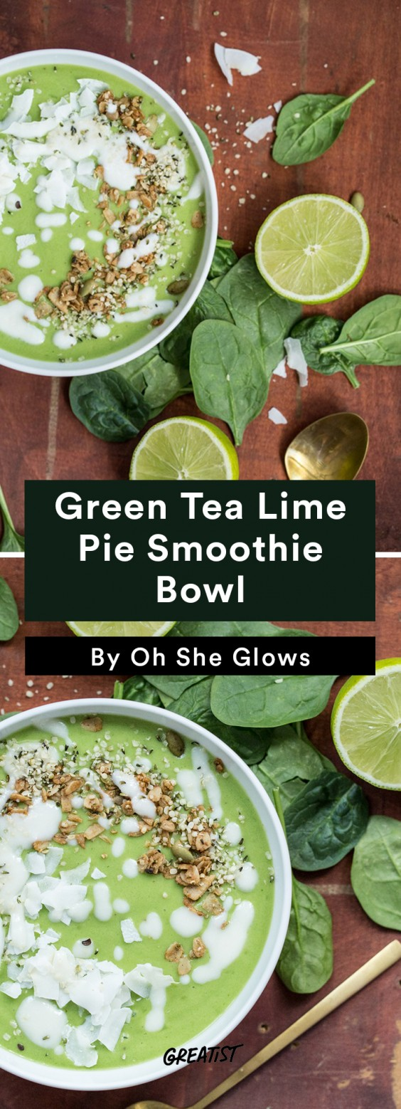 oh she glows bowl: green tea smoothie