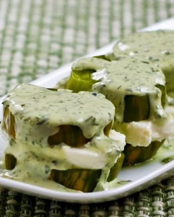 Green Tomato Mozzarella Stacks