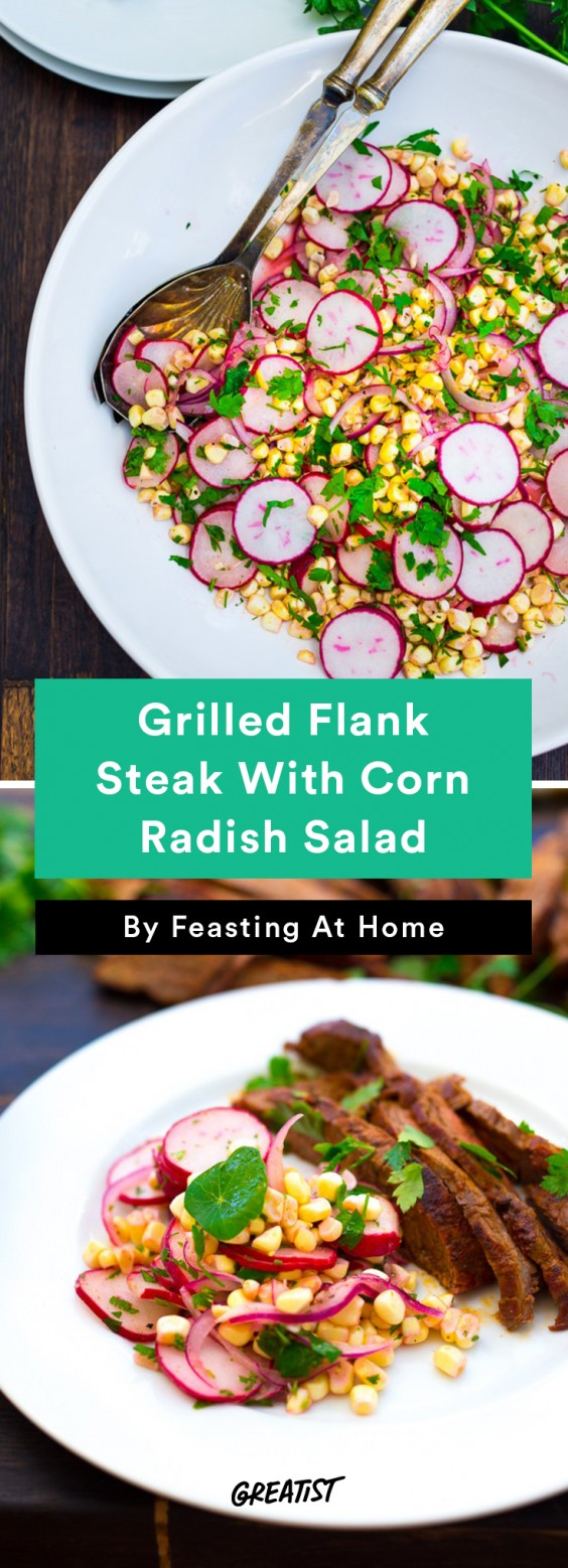Grilled Flank Steak with Corn Radish Salad Recipe