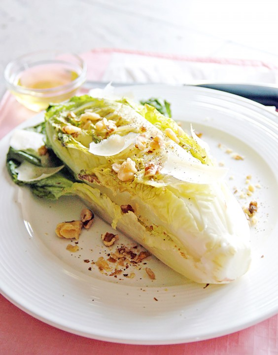 Grilled Romaine With Toasted Walnuts and Parmesan