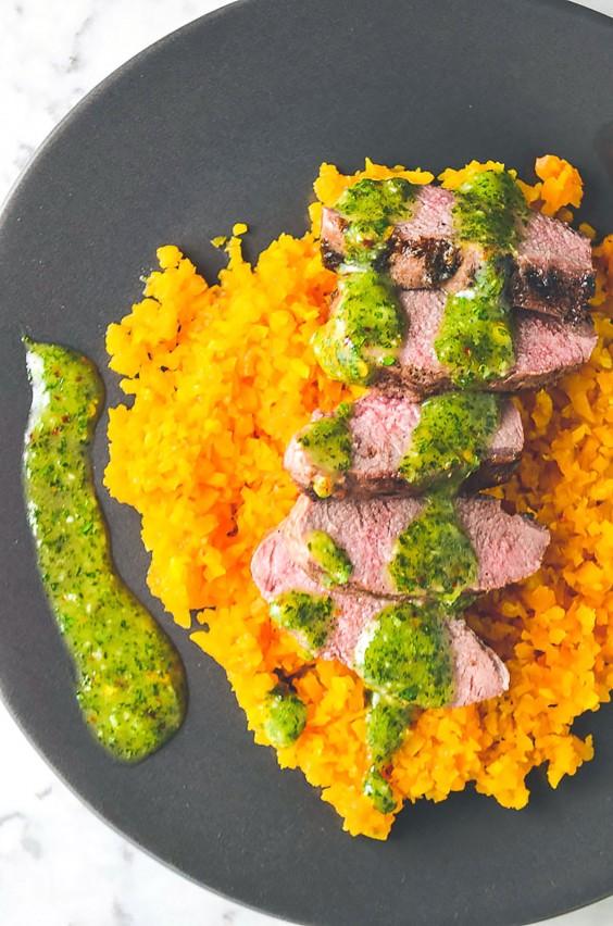 Whole30 Dinner Recipes: Lamb, Mint, Chimichurri and Butternut Rice