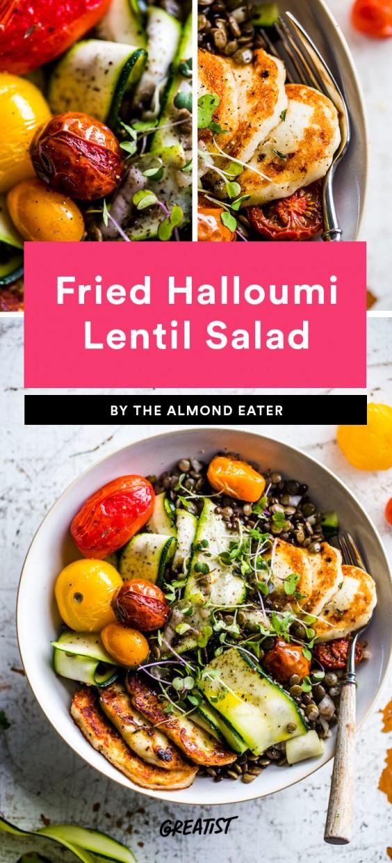 Fried Halloumi Lentil Salad