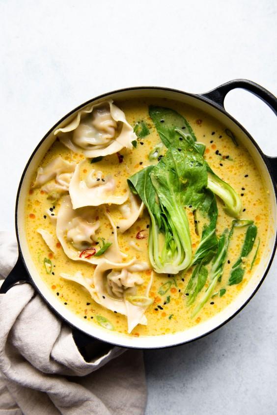 4. Tofu Wontons With Yellow Curry Broth
