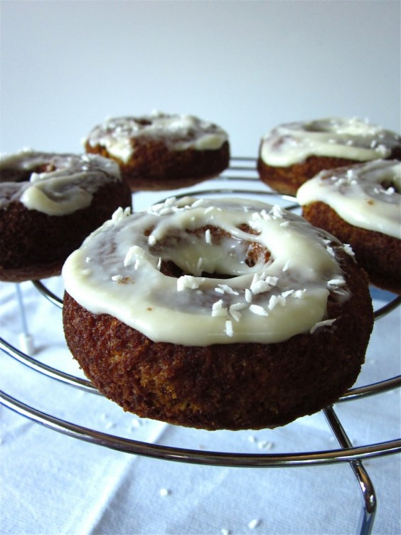 Carrot Cake Doughnuts with Honey-Cream Cheese Frosting