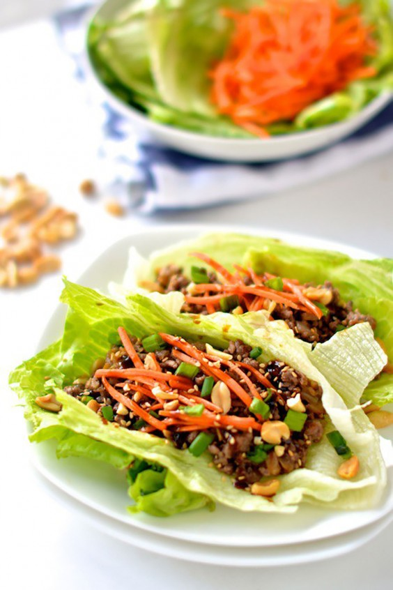 Ground Beef Recipes: Healthy Asian Lettuce Wraps