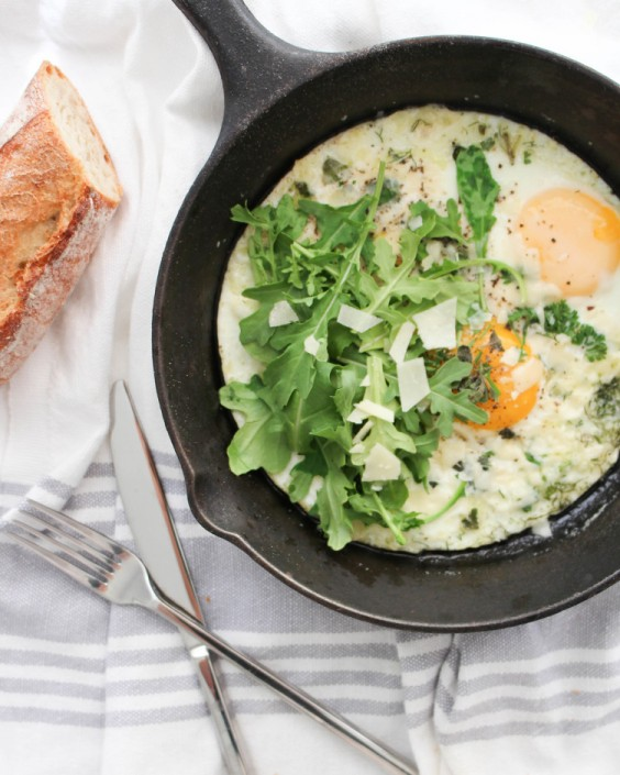 Herb and Arugula Baked Eggs