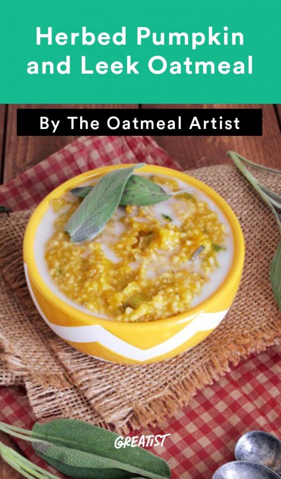 savory oatmeal: Herbed Pumpkin and Leek Oatmeal