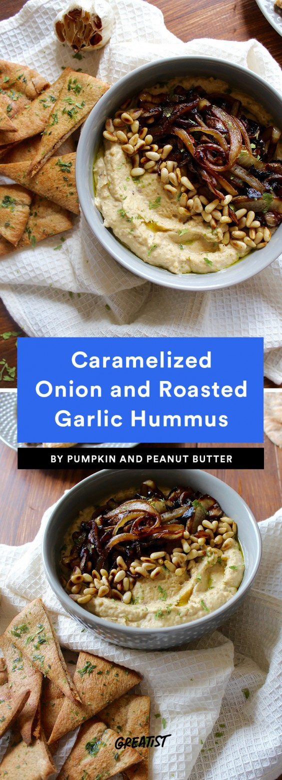 Caramelized Onion and Roasted Garlic Hummus
