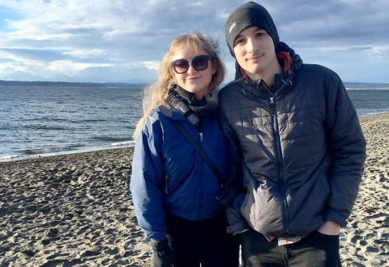 The author, Christie, and her boyfriend on a beach