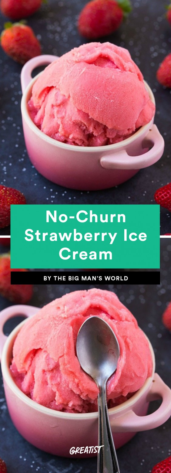 No-Churn Strawberry Ice Cream