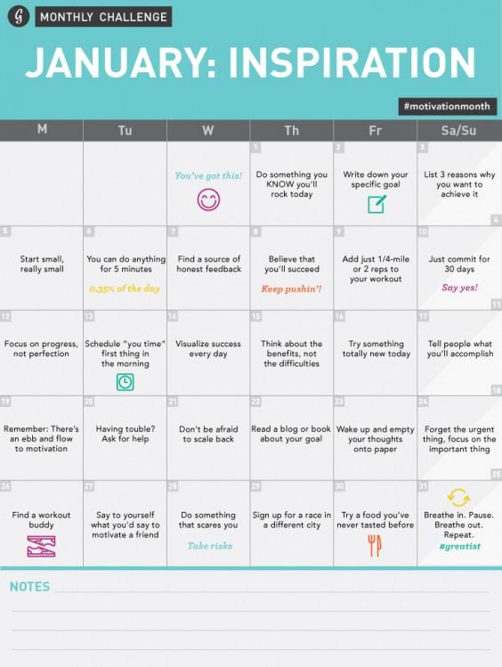 January Inspiration Challenge Calendar